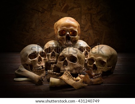Pile of Skull on old wooden table / Image still life style
