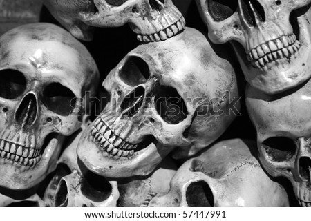pile of skulls - stock photo