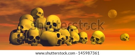 Pile of skulls in cloudy red background with full moon - stock photo