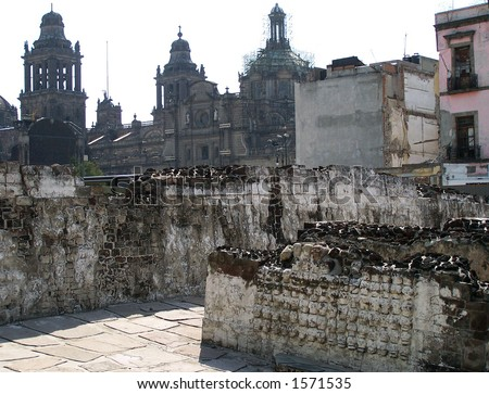 Pile of skulls in Tenochtitlan. Mexico-city. - stock photo