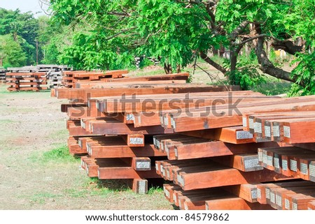 Pile of sleeper at the side of the train station. - stock photo