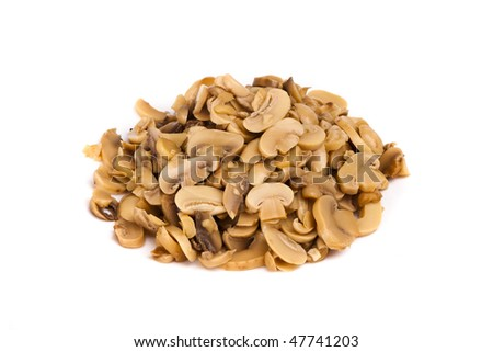 Pile of sliced champignon mushrooms on a white background.