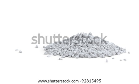 Pile of small white rocks isolated on white - stock photo