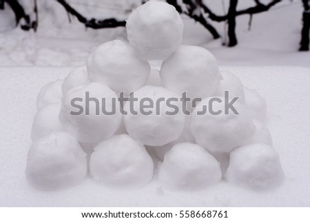 pile of snowballs for background