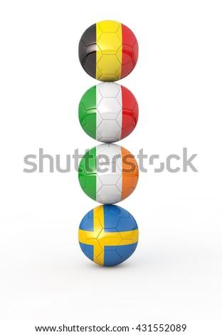 Pile of soccer balls. 3d illustration - stock photo