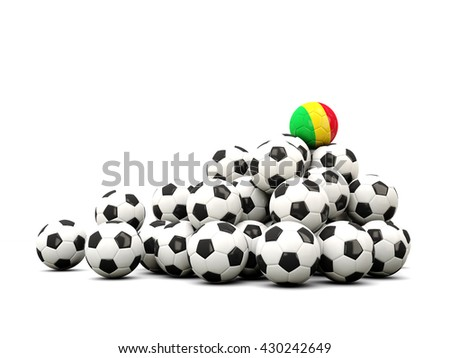 Pile of soccer balls with flag of mali. 3D illustration - stock photo