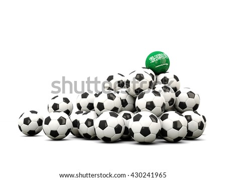 Pile of soccer balls with flag of saudi arabia. 3D illustration