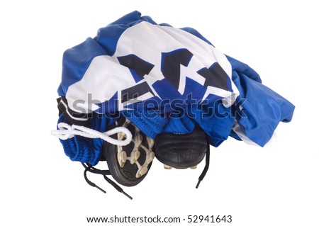 Pile of soccer uniform isolated against white background