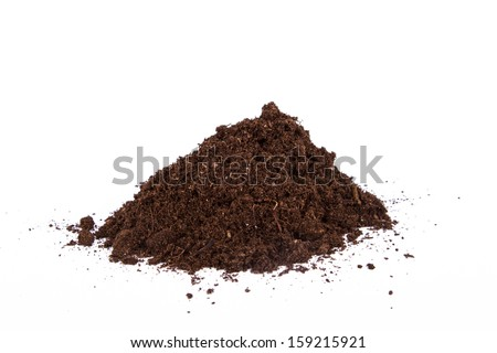 Pile of soil, side view, isolated on white background.