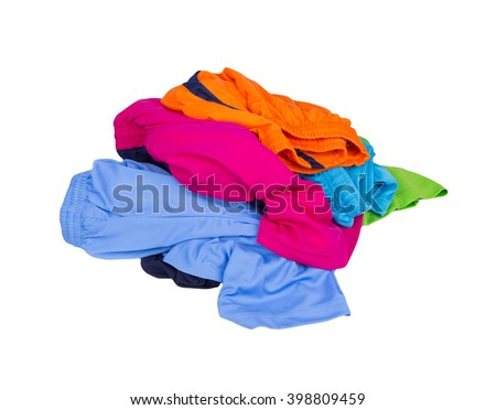 pile of Sport shorts on a white background