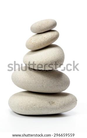 pile of stones isolated on white background - stock photo