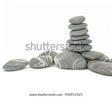 Pile of striped stones isolated on white background - stock photo