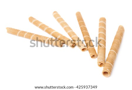Pile of sweet wafel sticks isolated over the white background