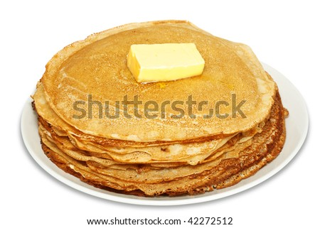 pile of tasty pancakes with butter - stock photo