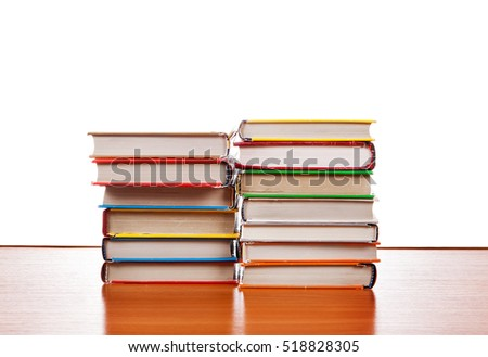 Pile of the Books on the Table Isolated