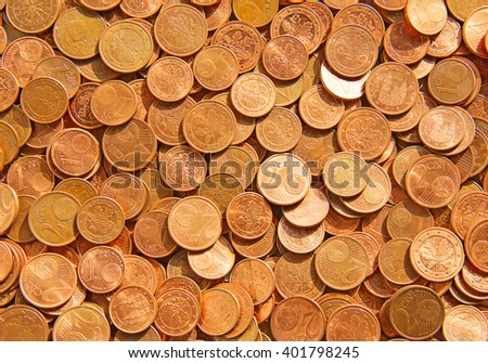 Pile of the euro cent coins - stock photo