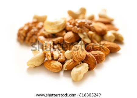 Pile of the mixed nuts in closeup