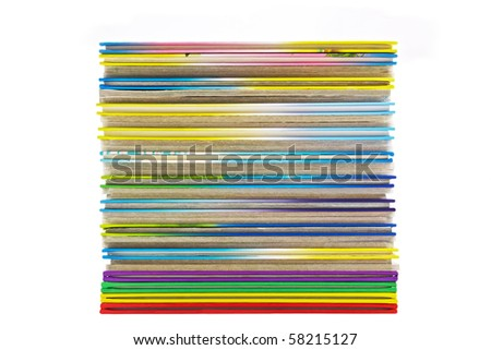 pile of thin books isolated on white background - stock photo