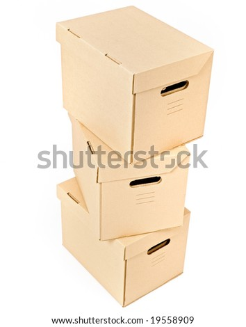 pile of three cardboard boxes isolated on white - stock photo