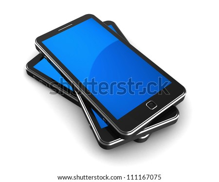 Pile of three cellphones isolated on a white background
