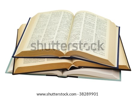 pile of three open old looking books isolated on white background, saved with clipping path - stock photo