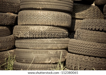 Pile of tires at the dump. Horizontal shot