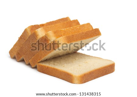 pile of toasted bread slices - stock photo
