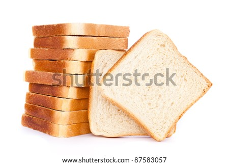 pile of toasted bread slices for breakfast isolated on white studio background - stock photo