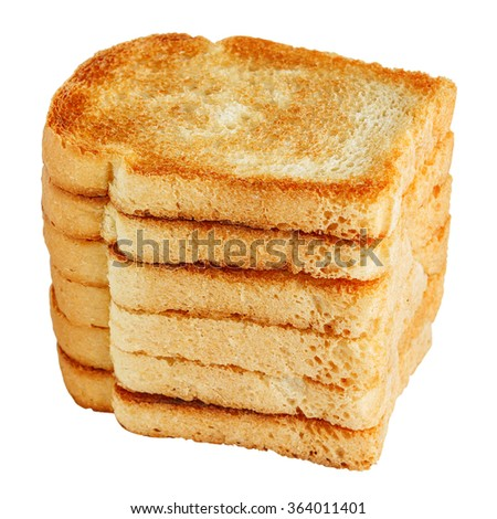 Pile of toasts isolated on white