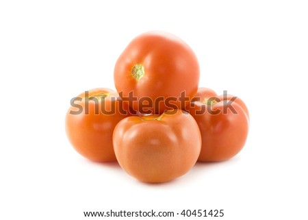 pile of tomatoes isolated on white