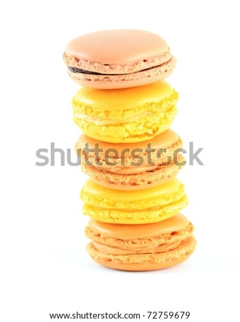 Pile of traditional french macarons, isolated on white - stock photo