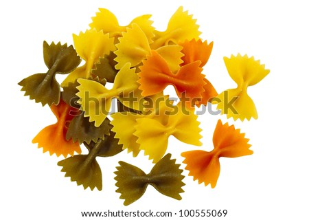 Pile of Tri Color Farfalle pasta isolated on white background - stock photo