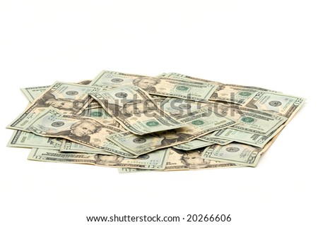 Pile of Twenty Dollar Bills Isolated on a White Background