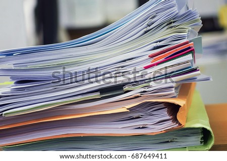 Pile of unfinished a bundle documents on office desk, Stack of business paper