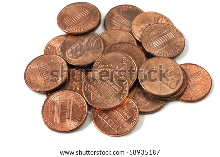 Pile of US one cent coins, over white background. - stock photo