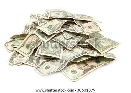 Pile of US Paper Currency - stock photo