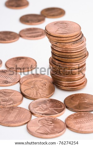 pile of US pennies - stock photo