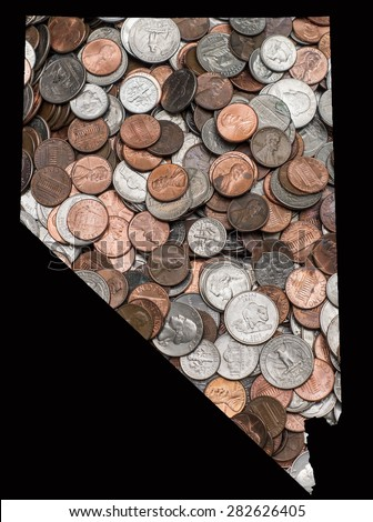 Pile of US United States Coins Quarters Dimes Nickels Penny in the shape of the state of Nevada
