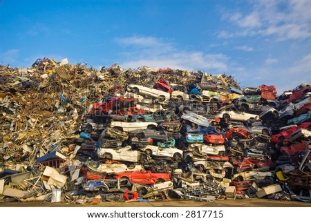 pile of used cars - stock photo