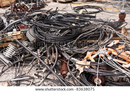 Pile of used electric cable for recycle - stock photo