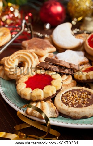 Pile of Various Christmas Cookies and Decorations - stock photo