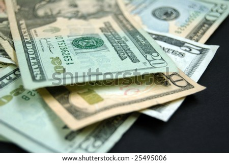 Pile of various dollar bills