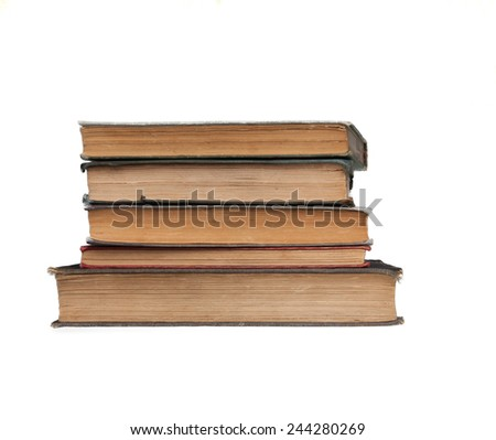 Pile of very old books background books are around 100 years old! - stock photo