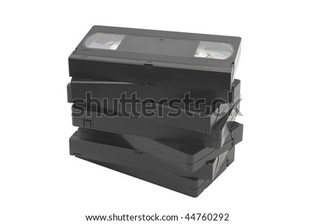 Pile of videocassettes. Isolated on white background - stock photo