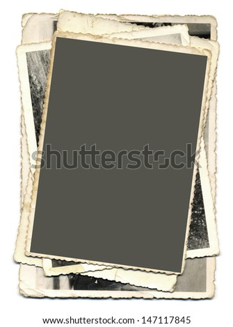 Pile of Vintage Photography Images Cutout - stock photo