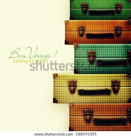 Pile of vintage suitcases - stock photo