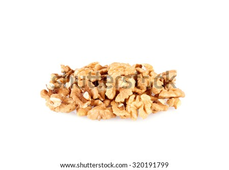 Pile of walnut kernels isolated on a white background - stock photo