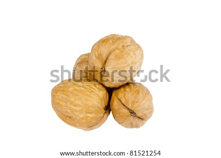Pile of walnuts isolated on a white background.