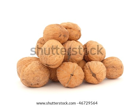 Pile of walnuts isolated on white
