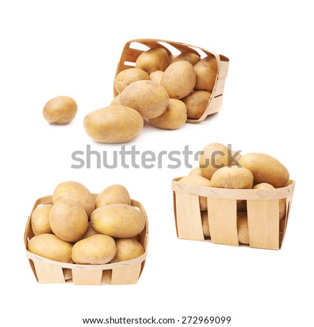 Pile of washed brown potatoes in a wooden basket, composition isolated over the white background, set of three different images - stock photo